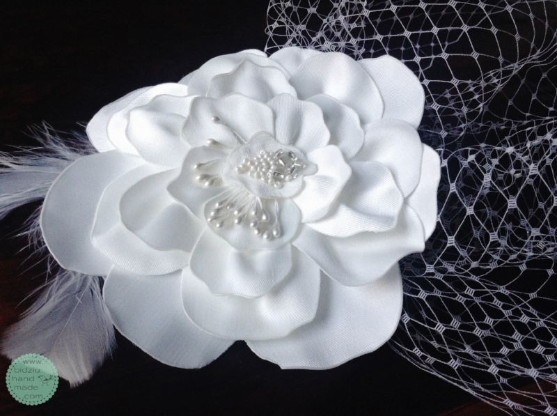 White satin handmade flower, pearl centre, whimsical feathers, birdcage veil, wedding hair piece, custom made, bridal hair piece, wedding hair accessories, bidziu handmade, bidziu hand made