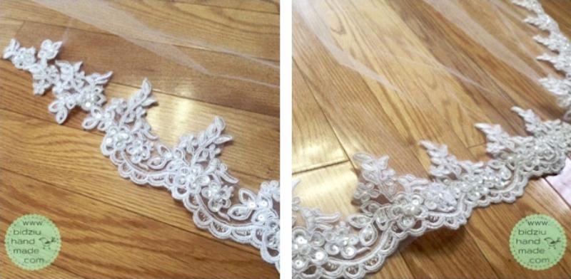 handmade bridal veil, chapel length veil, handmade veil with lace, custom made bridal veil, custom made wedding, handmade wedding, DIY wedding, bidziu handmade, bidziu hand made