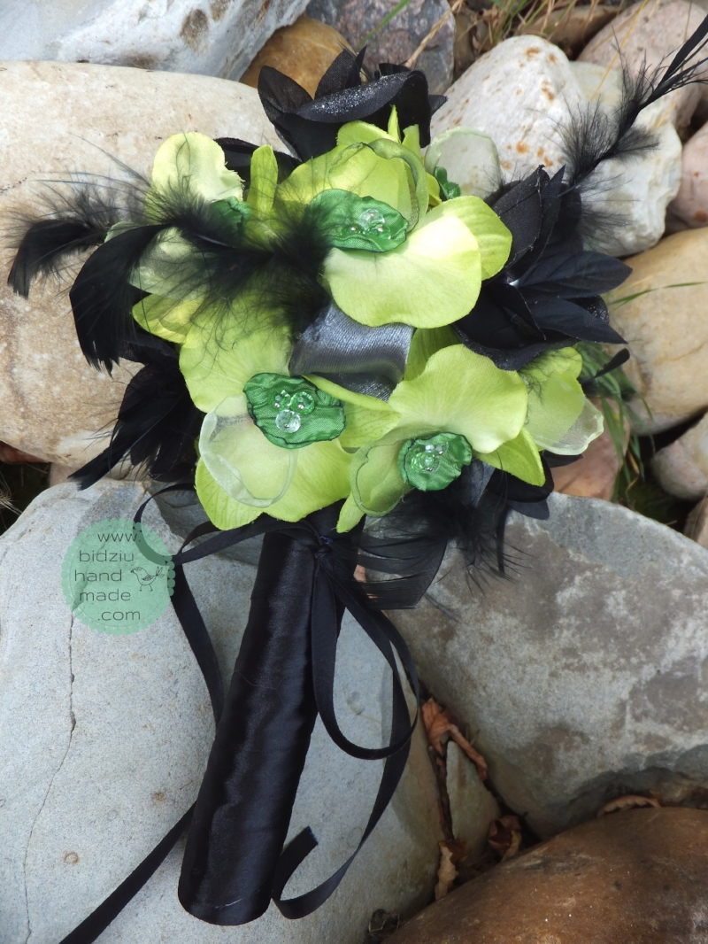 Apple Greenblack Fabric Flower Bouquet Bidziu Handmade