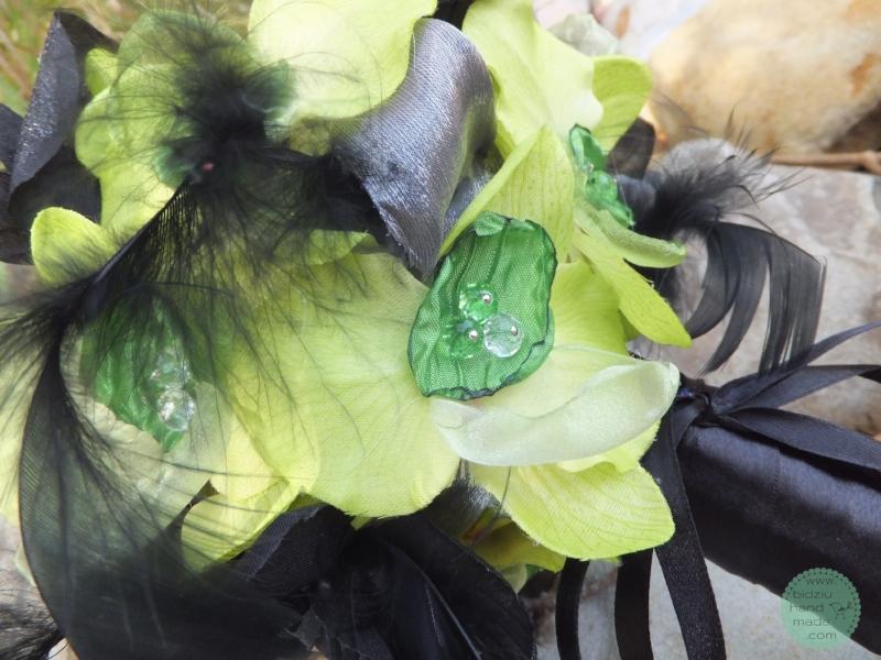 handmade fabric flower bouquet, bridesmaid bouquet, custom made fabric flower bouquet, green and black wedding, green and black flower bouquet, wedding on a budget, thrifty wedding, handmade wedding accessories, custom made wedding accessories, faux flower bouquet, bidziu handmade