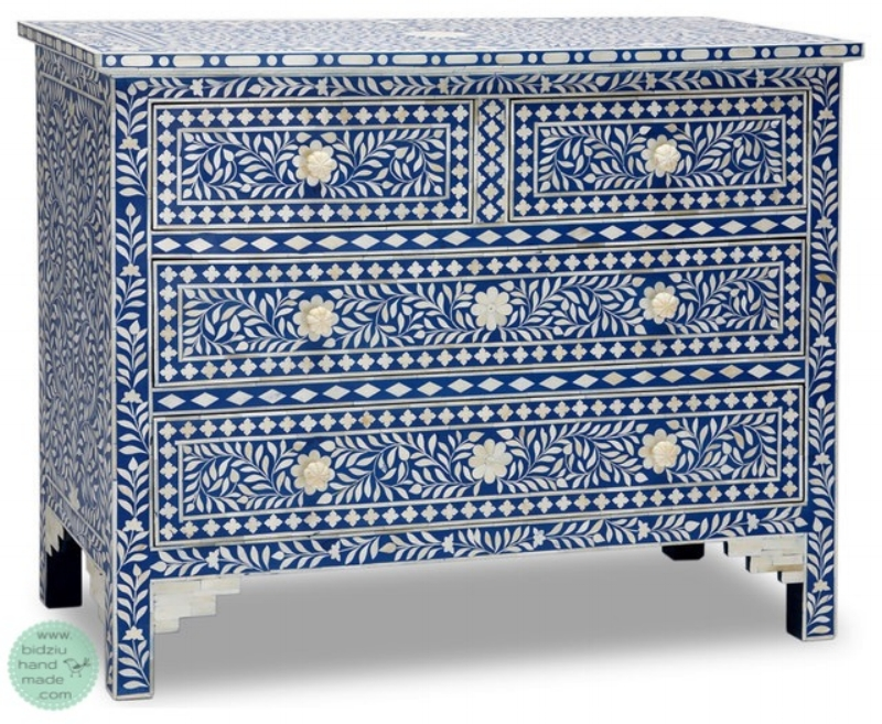 Inspiration was drawn from this bone inlay dresser and night stand