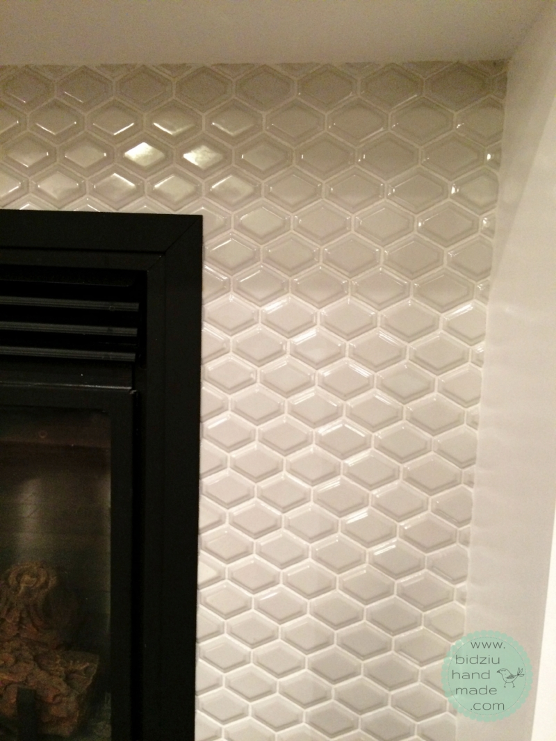 DIY built-in shelving unit, DIY built-ins, DIY built-ins around fireplace, DIY fireplace facelift, DIY basement reno, DIY basement project, DIY fireplace reno, build your own shelving unit, DIY custom made built in shelves, DIY custom built-ins, custom built-ins, DIY tile, tile around fireplace, modern tile, DIY mosaic tile, DIY crown moulding installation, build your own shelves, fireplace facelift, fireplace renovation, bidziu handmade, bidziu hand made