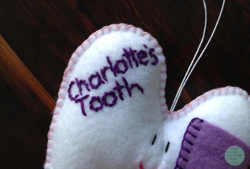 felt tooth pillow, tooth pillow, handmade tooth pillow, tooth fairy, tooth fairy tradition, customized tooth pillow, bidziu handmade, bidziu hand made