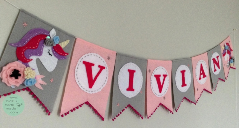 felt name banners, name banners, banners, flag banners, felt flag banners, girl's name banner, boy's name banner, nursery decor, kid's room decor, modern home decor, trendy nursery, trendy kid's room, pink and gray name banner, unicorn name banner, custom name banner, DIY room decor, DIY name banner, handmade name banner, bidziu handmade, bidzuhandmade, baby gift ideas