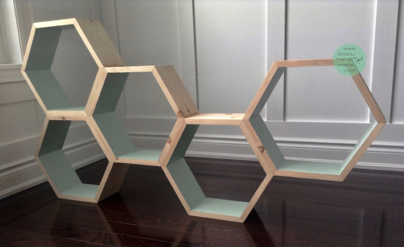 honeycomb shelves, honeycomb shelving unit, DIY honeycomb shelves, DIY honeycomb shelving unit, DIY shelves, DIY hexagonal shelves, DIY wood working, DIY furniture, wood working project, modern shelves, modern shelving unit, trendy shelves, trendy shelving unit, DIY trendy shelving unit, DIY trendy shelves, modern home decor, trendy home decor, DIY home projects, unique shelves, unique shelving unit, modern home accents, trendy home accents, DIY projects, DIY home decor, bidziu handmade, bidziu hand made
