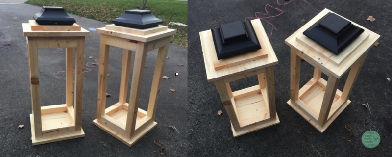 DIY lanterns, DIY wood lanterns, DIY lanterns, solid wood lanterns, wood lanterns, build your own lanterns, decorative lanterns, decorative wood lanterns, front door decoration, front porch decoration, front entrance decoration, front porch Christmas decoration, front urns decoration, Christmas urns, holiday urns, winter planter decoration, winter front door, winter front entrance decoration, wood project, wood working project, winter home decor, holiday home decor, modern winter home decoration, modern rustic Christmas home decor, bidziu handmade, bidziuhandmade