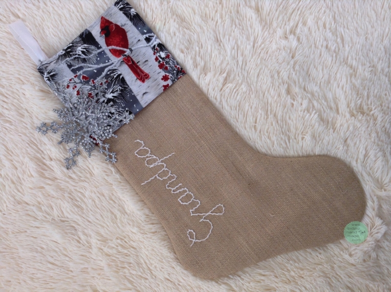custom made Christmas stockings, handmade Christmas stockings, burlap Christmas stockings, modern Christmas stockings, rustic Christmas stockings, gray, silver, and white Christmas stockings, personalized Christmas stockings, modern Christmas decor, rustic Christmas decor, mantel Christmas decoration, red Christmas stockings, red and silver Christmas stockings, red and silver stockings, bidziu handmade, bidziuhandmade