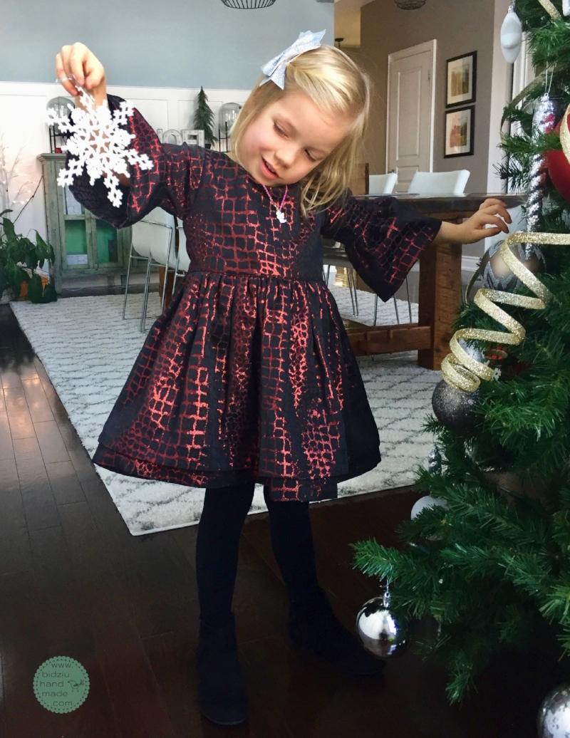 2bd867b9783 Red and black Christmas dress for little girls. — Bidziu | Handmade