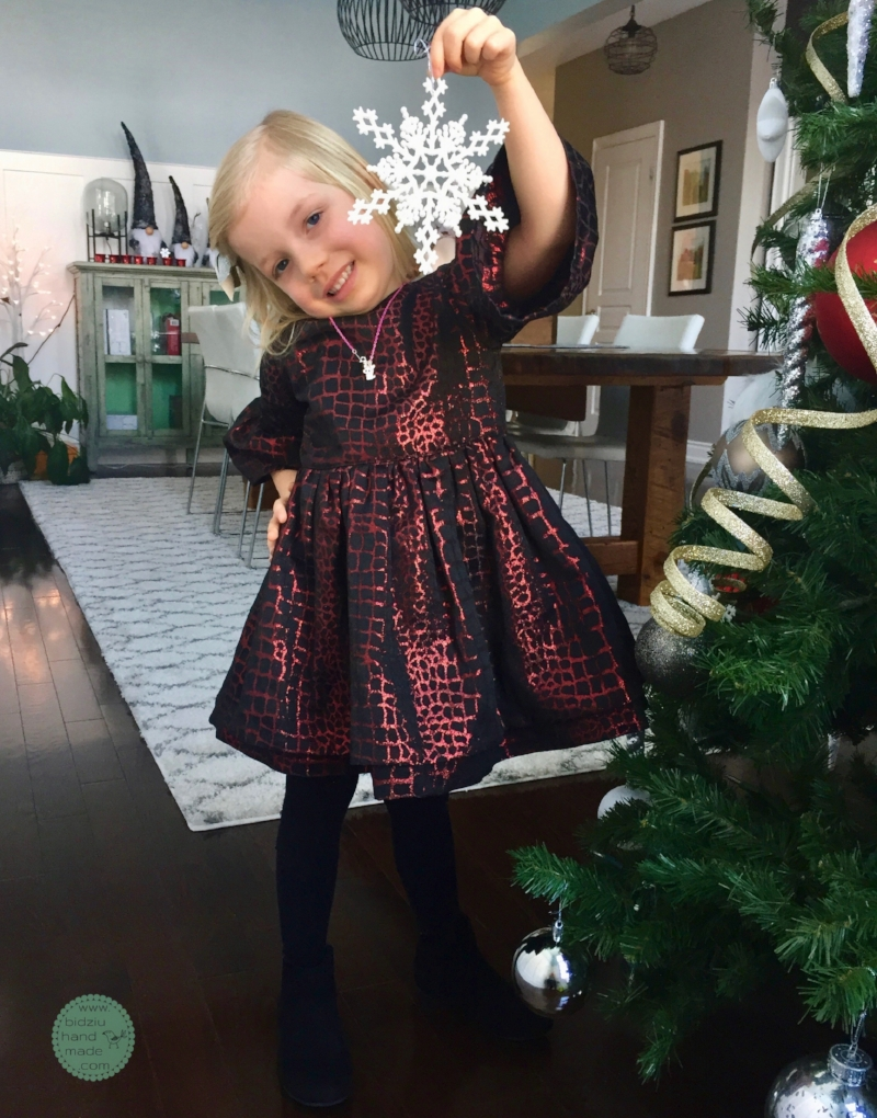 Red and black Christmas dress for little girls. — Bidziu | Handmade