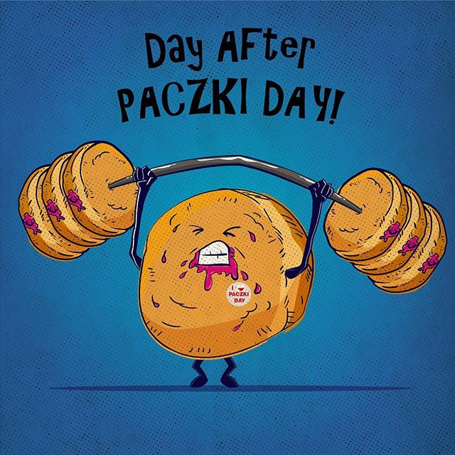 The day after eating those delicious Paczki. Gotta sweat 'en out! #Paczki #paczkiday #art #illustration #donuts #squating #oscaralatorre #tothetower #workingout #