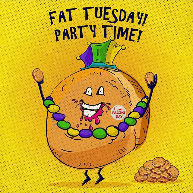 Happy Fat Tuesday!  #fattuesday #mardigras #beads #mardigrabeads #paczki #paczkiday #donuts #art #illustration #illustrator #oscaralatorre #tothetower