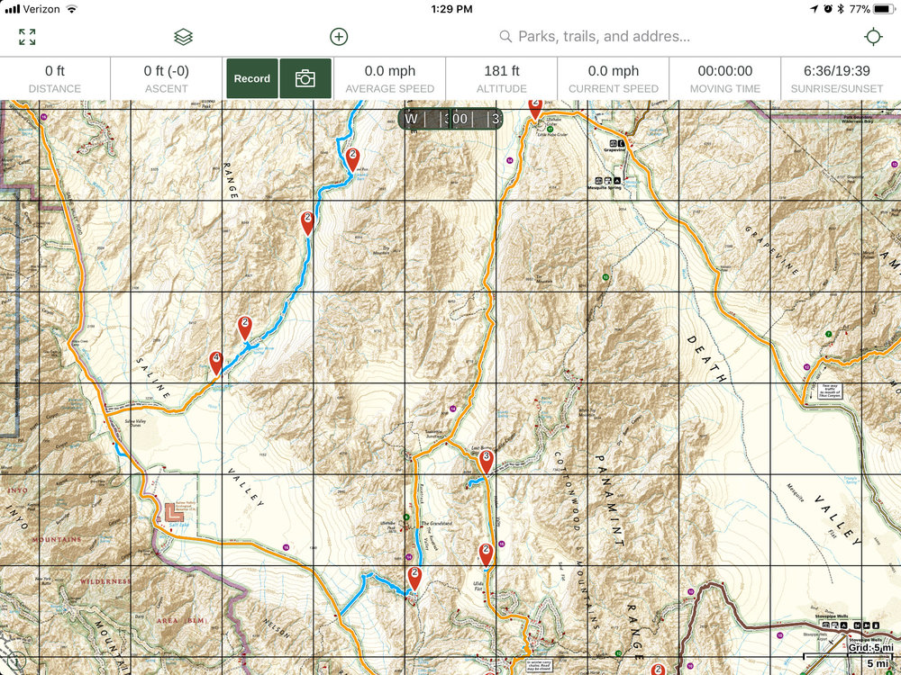 The National Geographic layer showing Death Valley. Available with the Gaia GPS Premium membership.