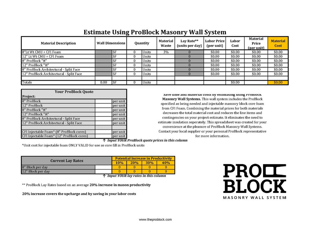 Masonry Estimate Calculator - ProBlock
