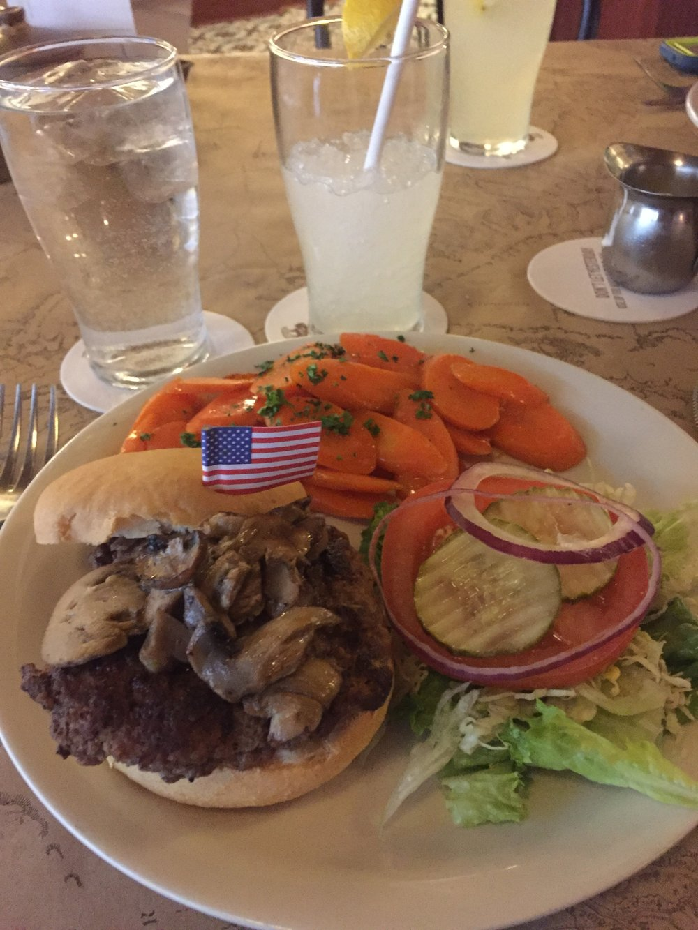 Bison Burger with butter carrots and a gluten-free bun! The lemonade was hand squeezed and I'm sure full of sugar - but that was a treat!