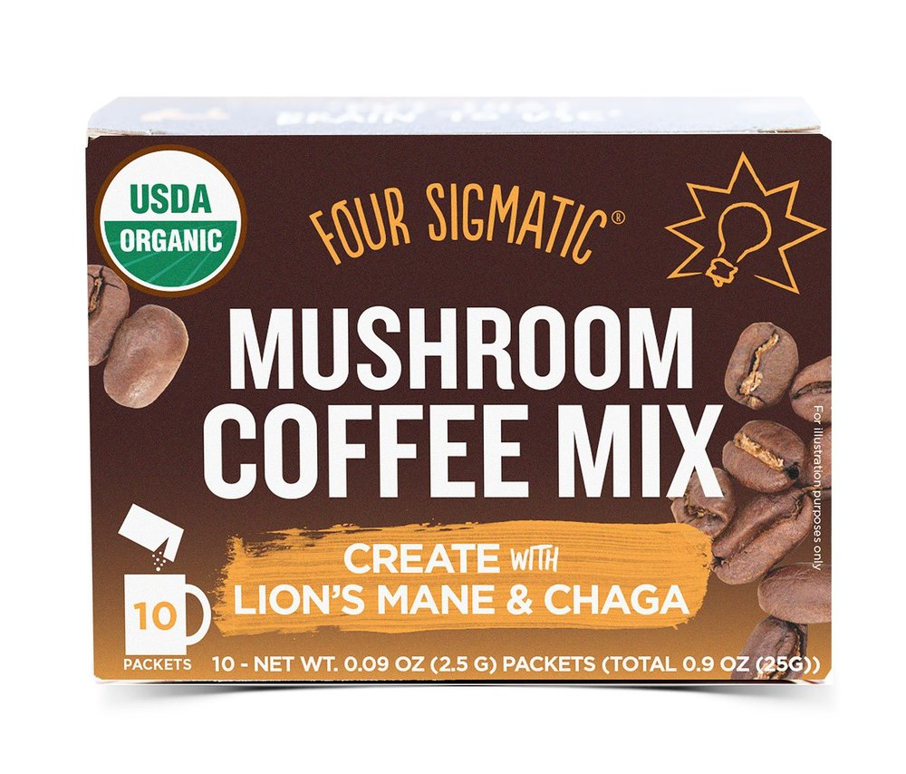 """I LOVE foursigmatic and you've probably seen me talk about my """"mushroom coffee"""" a lot!!! Less acidic, less caffeine, MORE benefits from the mushrooms!!"""
