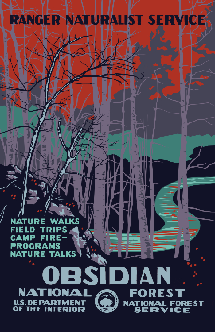 "Poster prop created by JoJo Seames for episode eight, ""Out of Nothing"". This poster for the fictional titular national forest was made after the style of the WPA's Federal Art Project National Park Service serigraphed posters of the late 1930s."