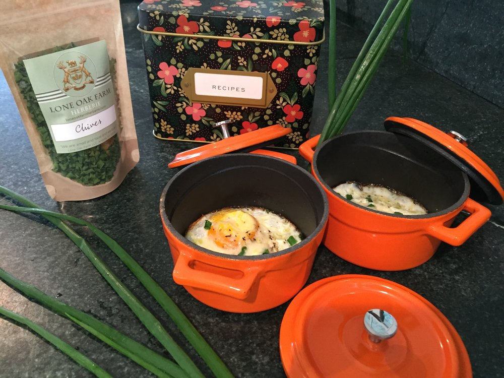 EGGS IN A CROCK POT - LEVEL- EASY-1/2 tsp of Olive Oil-1 Egg  -1/4 tsp of Salt-1/4 tsp of Pepper- A pinch of fresh or dry Lone Oak Farm Chives-A pinch of Cheese (optional)