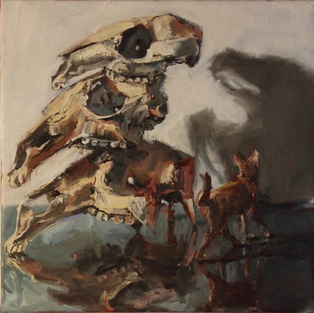 2 Nic Mason_three macropods and a dog_oil on canvas_40 x 40 cm_reduced for catalogue.jpg