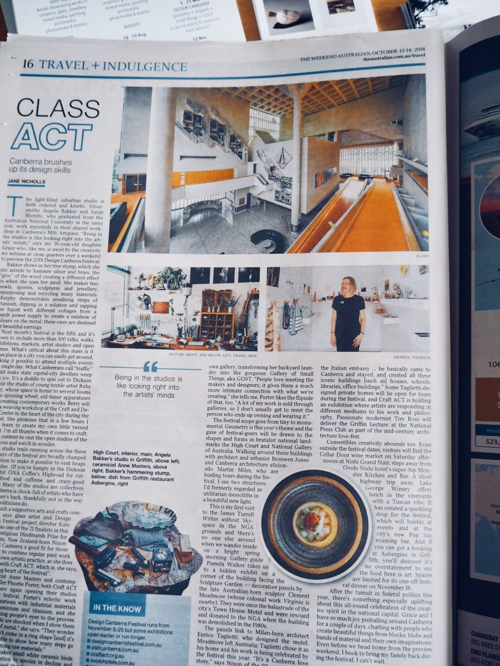 Media drum roll .... - Thanks to ABC Radio Canberra and Kim Huynh for his interview about GOST, it's dream and future plans. To hear the full story click here. We also appeared in the The Australian! Thanks to Craft ACT: Craft + Design Centre and Jane Nicholls for her fabulous article. I feel chuffed to be included with an amazing bunch of talented artists as part of this year's DESIGN Canberra. So save 2 - 25 November to see talks, open homes & studios, exhibitions and so much more.