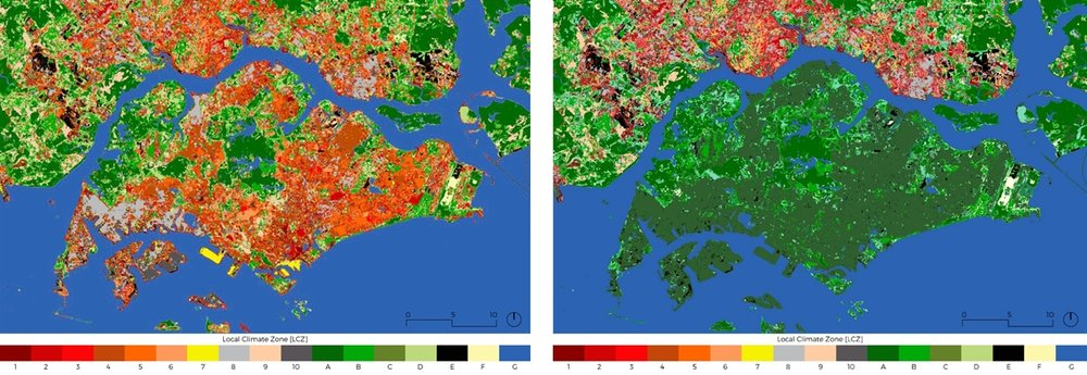 Fig 5. Urban heat modelling on the meso-scale for Singapore by using WRF: Singapore separated into LCZ [left] in comparison to the all-green scenario [right]