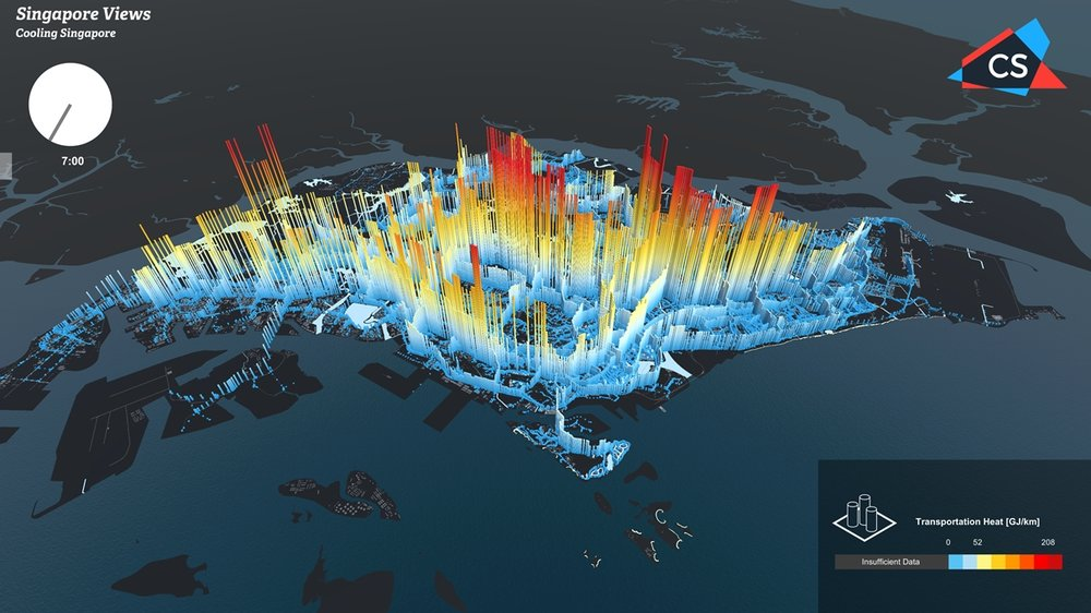 Fig 7. Transport heat (GJ/km) informations for Singapore visualized by CIVAL via Singapore Views / Source: Jordan Ivanchev CIVAL, Sailin Zhong