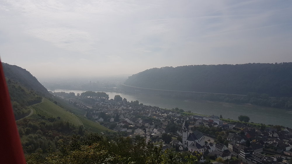 Rheinbrohl and the Rhein River.