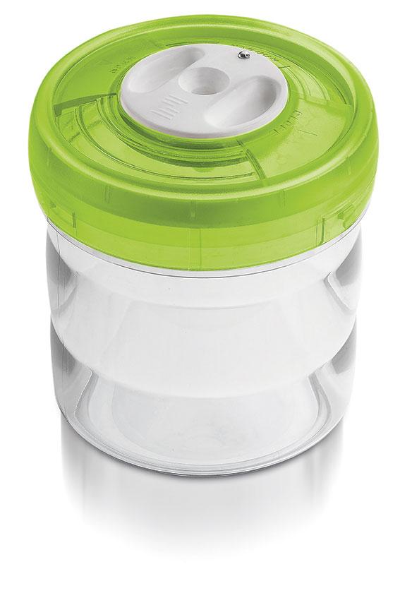 Glazen pot (rond, 0.65L, €45)