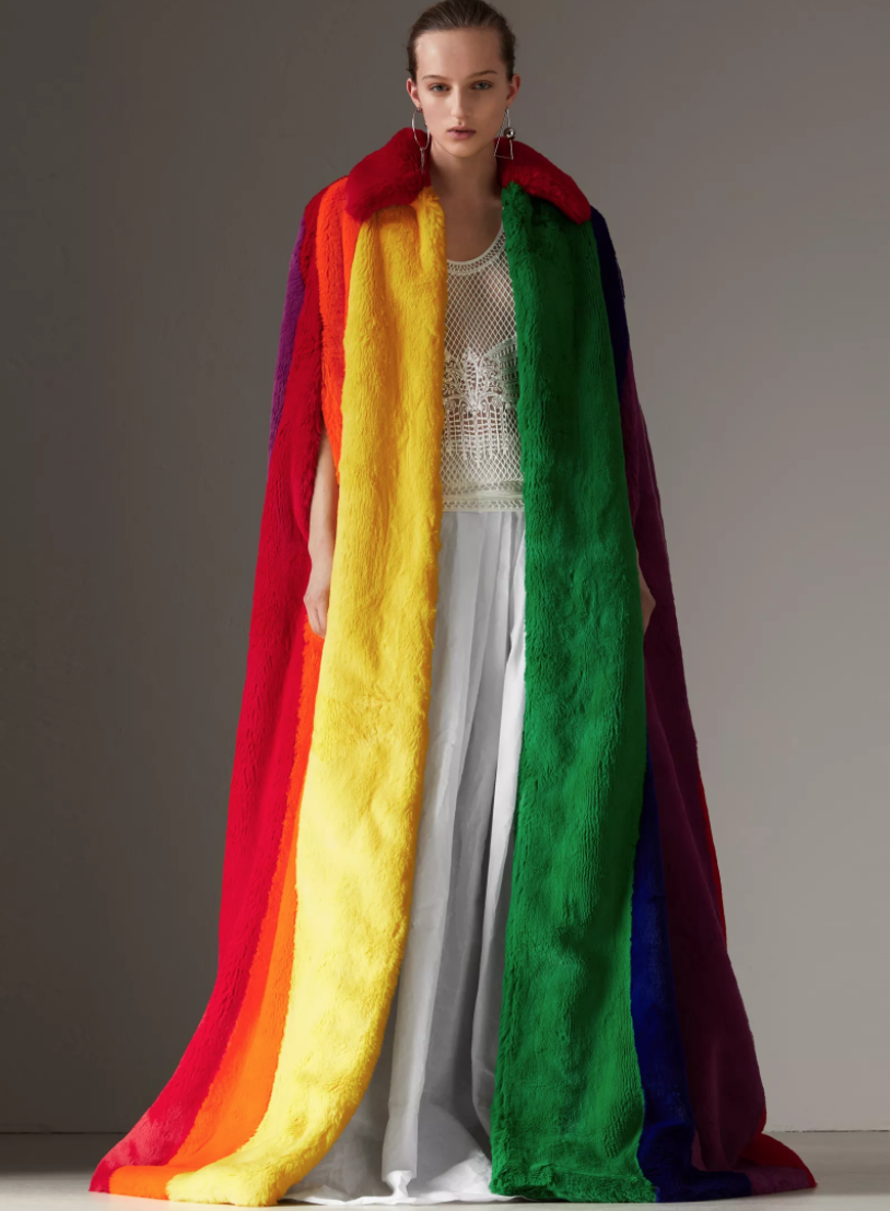 Rainbow Faux Fur Cape by Burberry