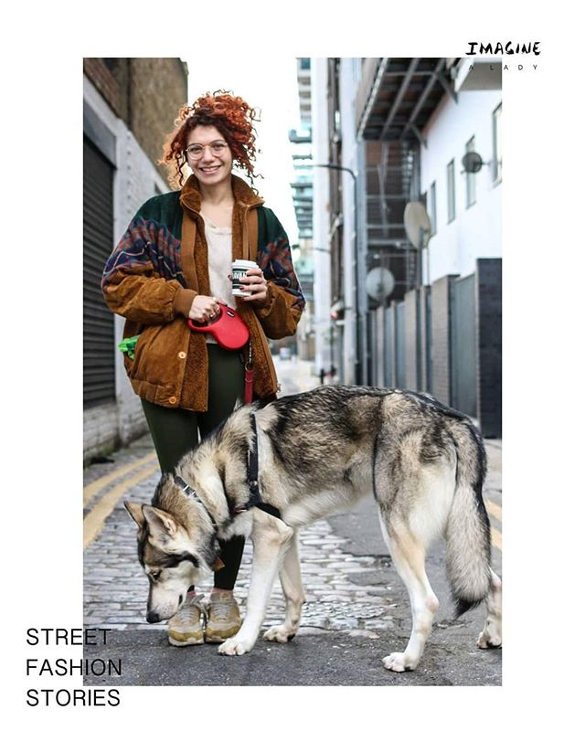 """I like darker colours because I think it suits me better. It's very cold today and I've added a lot of layers. I like suede."" Eirini 🐺  #streetfashionstories #doglover #ootd"