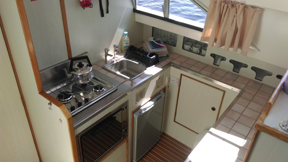 Kitchen in our rental boat on the River Shannon.