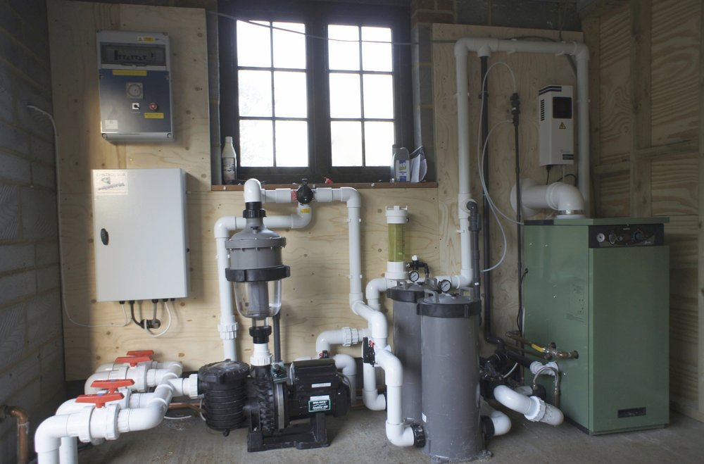 - The purpose built plant-room houses an ultra efficient boiler which uses a variable speed pump, this together with the filtration system ensures savings in energy, water and time. This pool uses an ozonator which keeps sanitising chemicals down to a minimum; ensuring those with sensitive skin can enjoy pool life too.