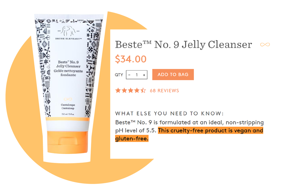 Drunk Elephant cleanser with cruelty-free, vegan and gluten-free claims