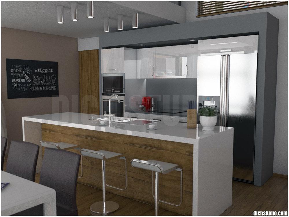 Визуализация - дизайн изглед към кухня