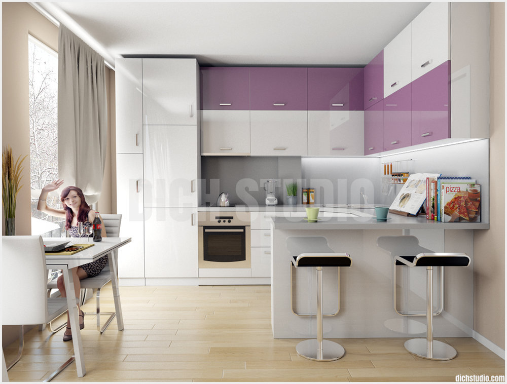 Кухня лилаво
