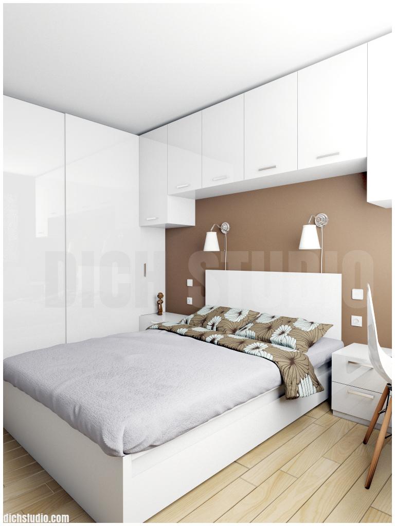 Спалня кафяво