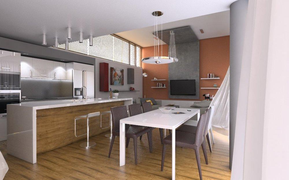Дизайн на трапезария, кухня и дневна зона, къща край Варна