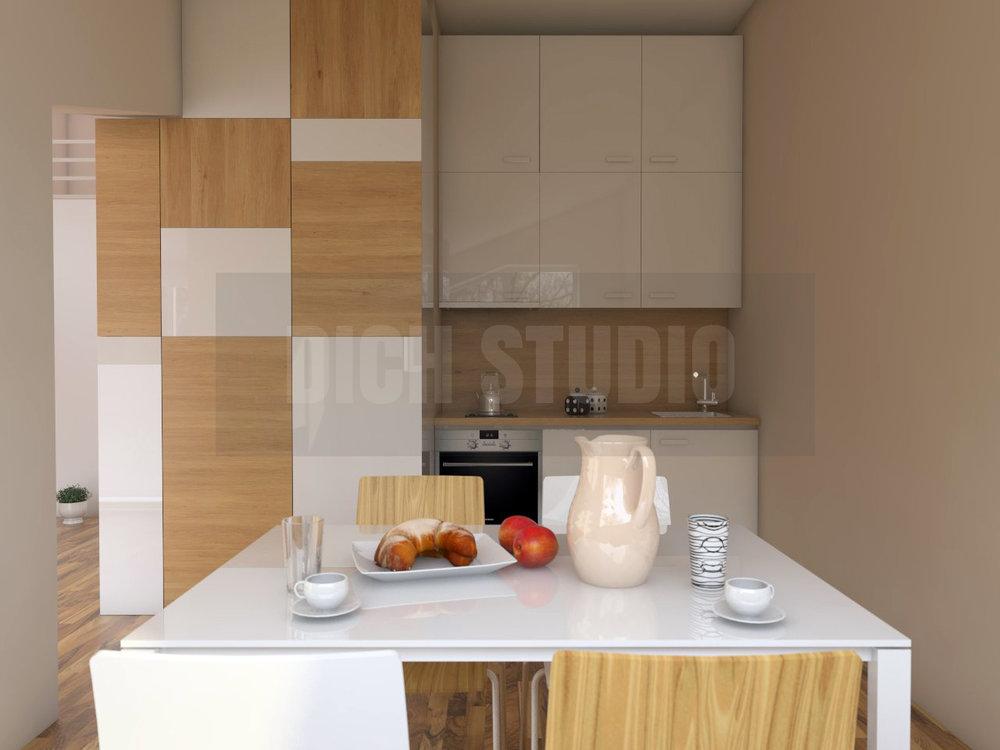 Визуализация интериор кухня студио, Враца
