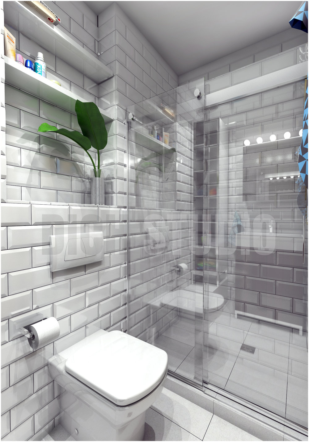 Bathroom white tiles interior design project Mladost Sofia
