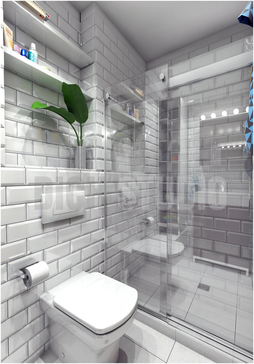Баня - изглед към душ-кабина