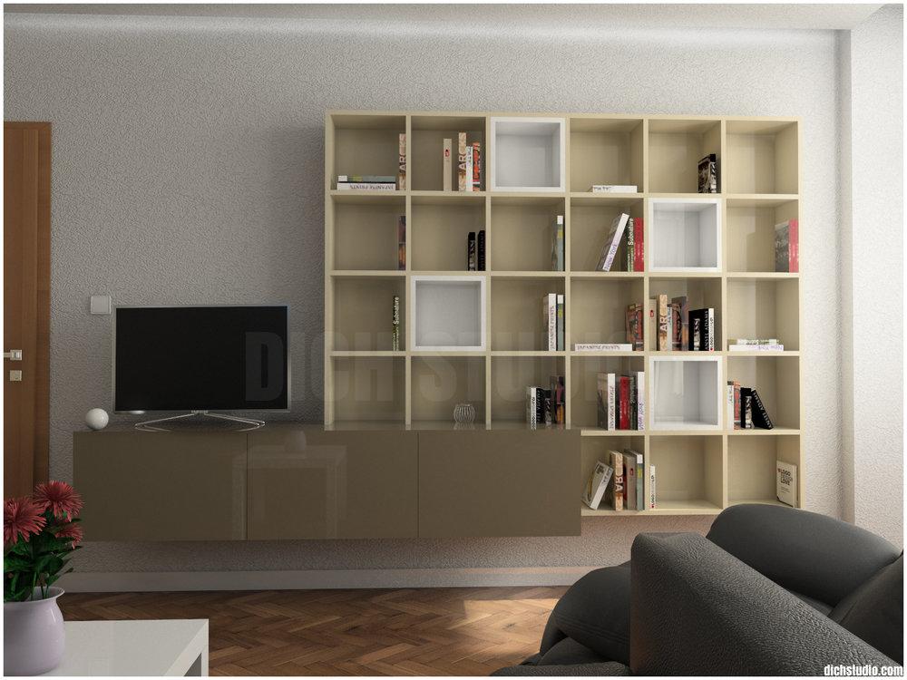 Тв шкаф библиотека дневна - интериорен проект