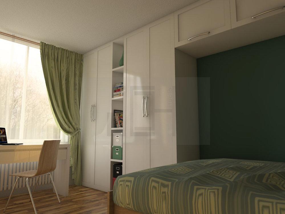 Дизайн на спалня зелено, Враца