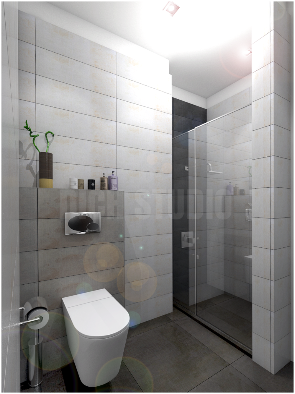 Bathroom grey white tiles