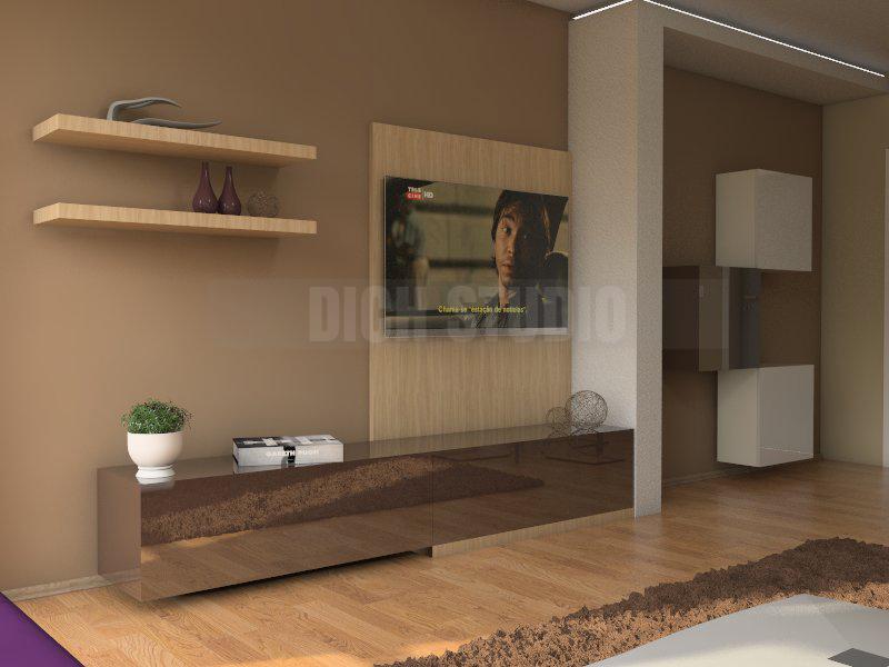 Interior design of an apartment - tv set living room, Reduta, Sofia