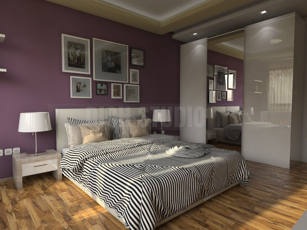 Bedroom interior in purple, Reduta, Sofia