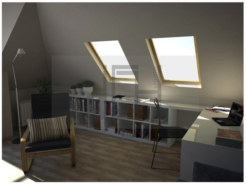 Дизайн на работен кът в дневна, апартамент, Изток, София