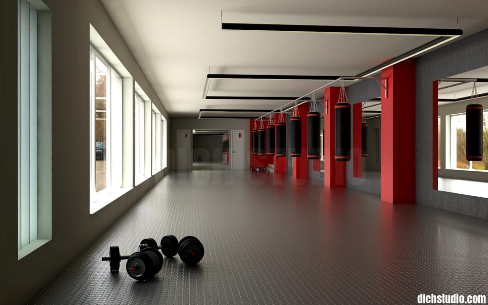 """Визуализация интериорен дизайн боксова зала на боен клуб """"Сила"""", Враца"""