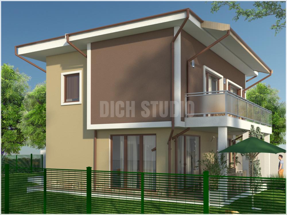 Проект еднофамилна къща - фасада запад, Нови Хан