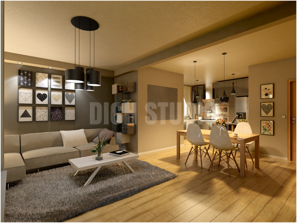 Living room rendering, apartment in Veliko Turnovo