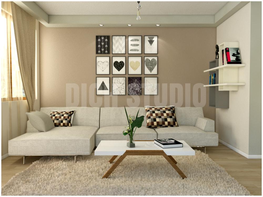 интериорен дизайн на дневна зона - 3д