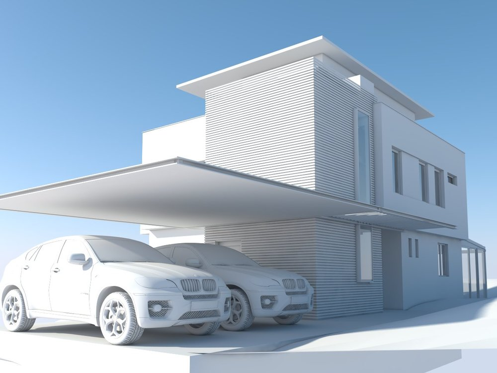 Modern house project Varna - raw rendering